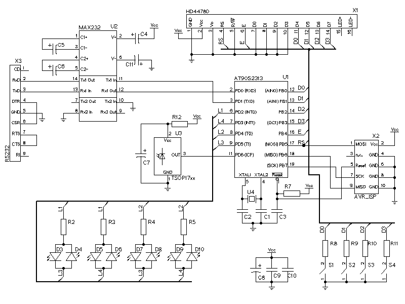 AVR terminal for serial port - schematic