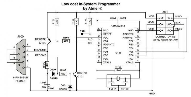 AVR Programmer (AT90S2313) - schematic