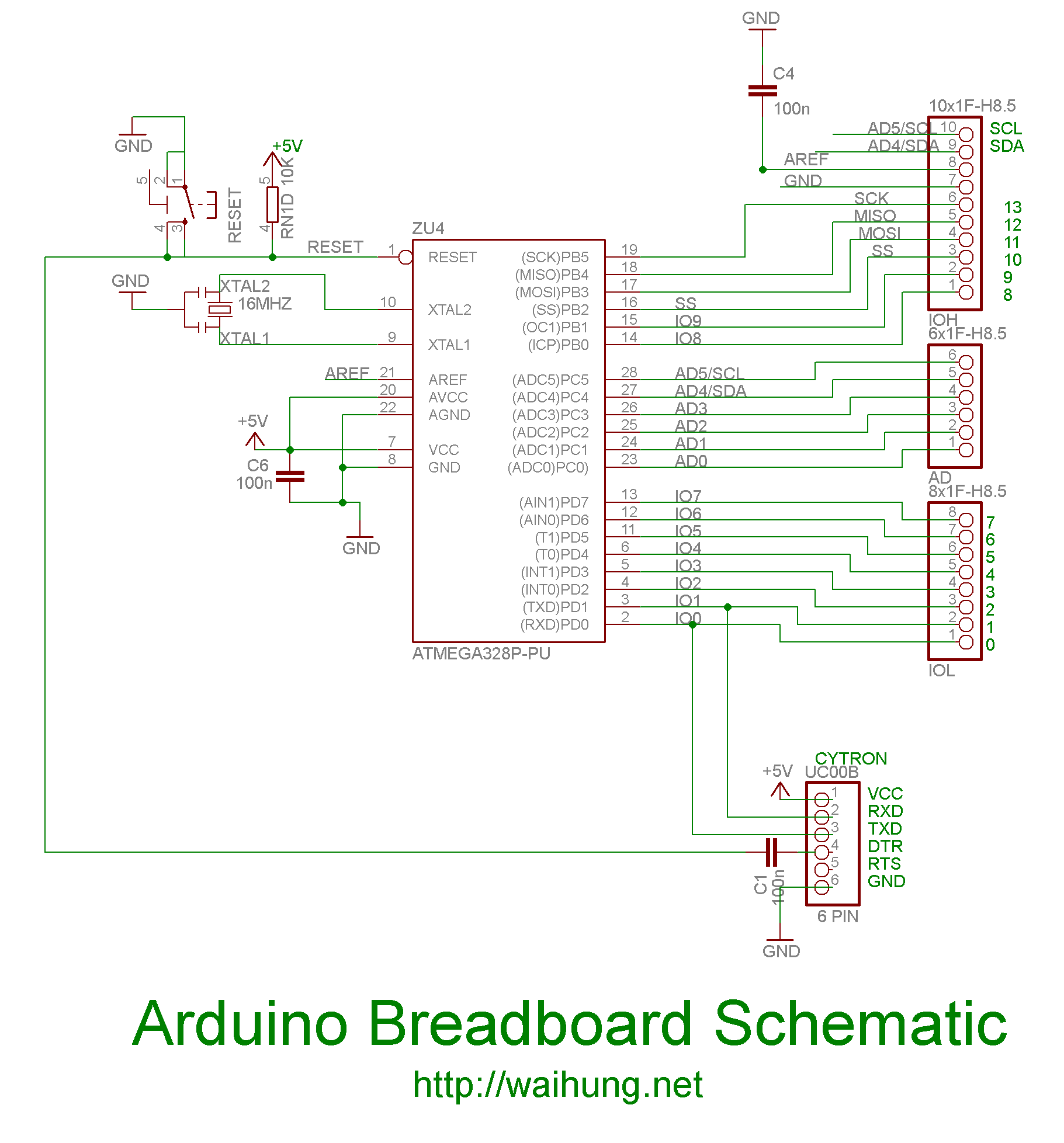 arduino on breadboard - schematic