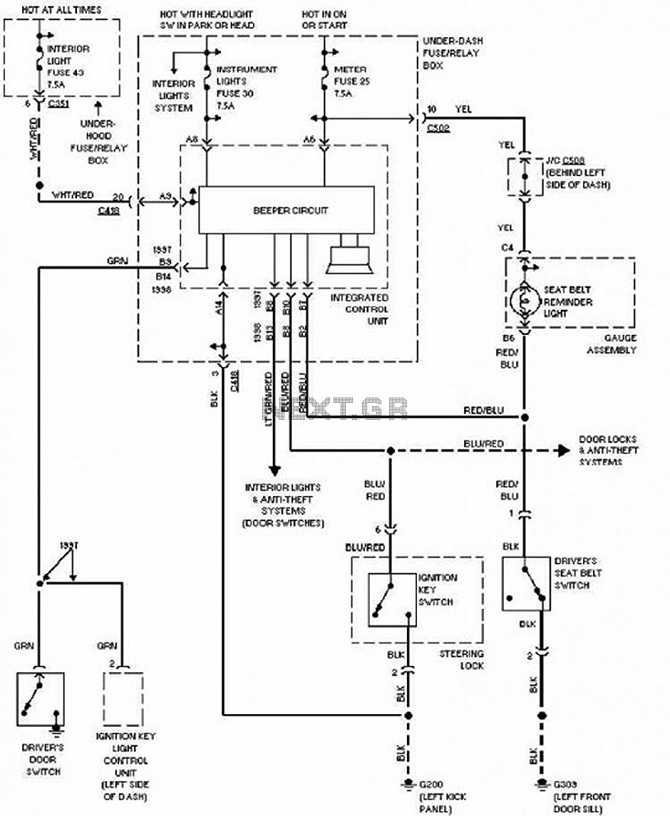2002 Honda Cr V Starting System Circuit And Schematic ... on