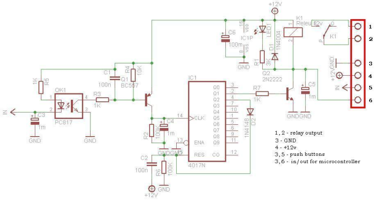 Mains Detector Relay with CD4017 - schematic