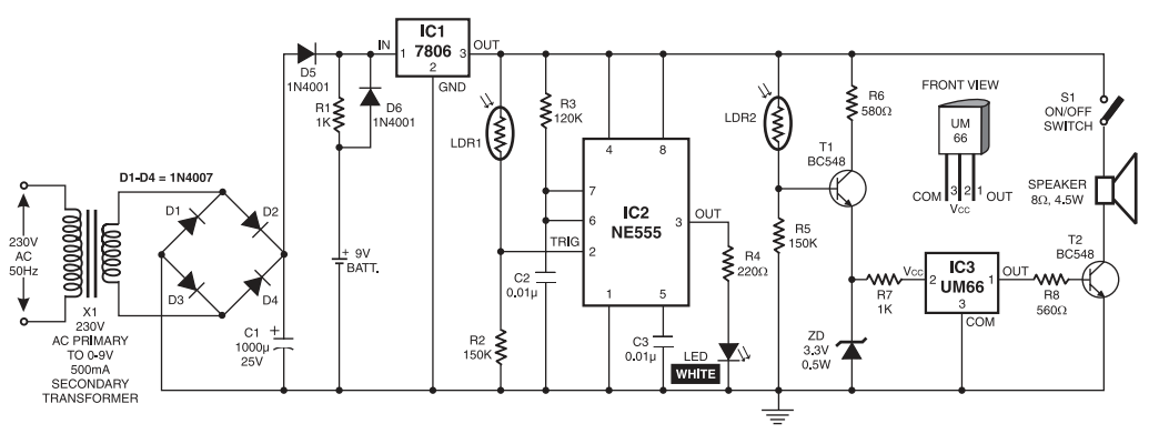 AUTOMATIC NIGHT LAMP WITH MORNING ALARM - schematic