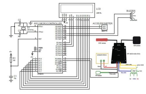 interfacing mma7660 accelerometer to 8051 display values on lcd - schematic