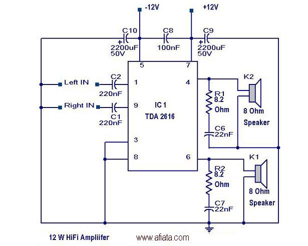 2X12-W-HiFi-Amplifier D Wiring Schematic on