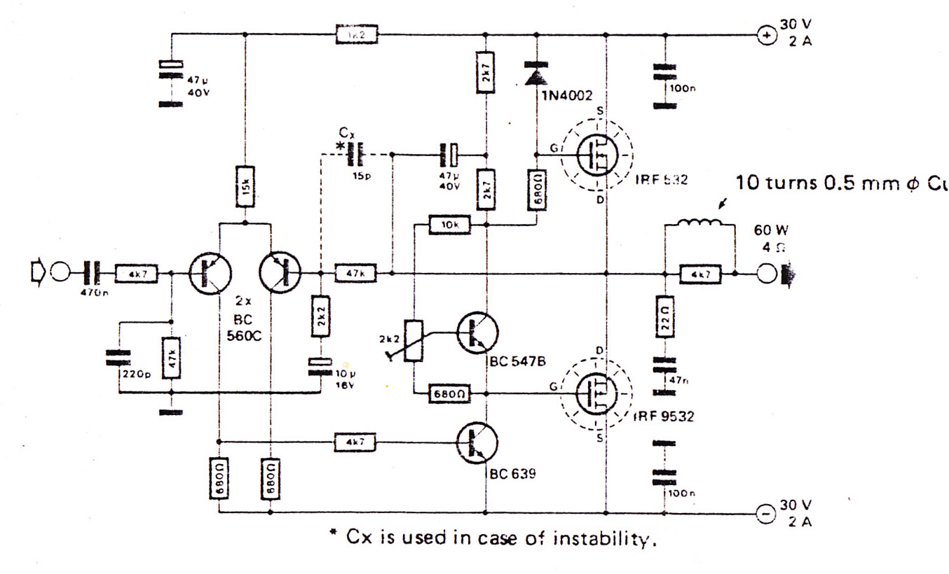 100w amplifier circuit diagram