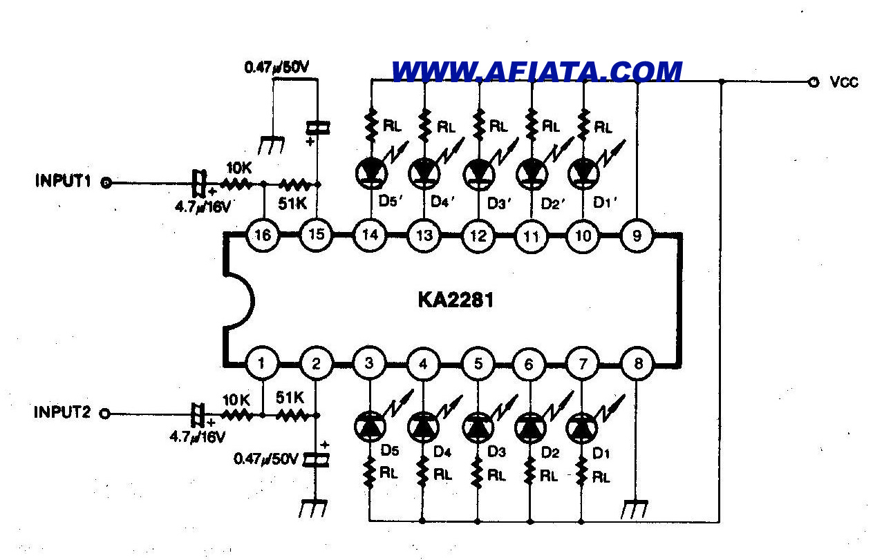 stereo audio vu meter circuit - schematic