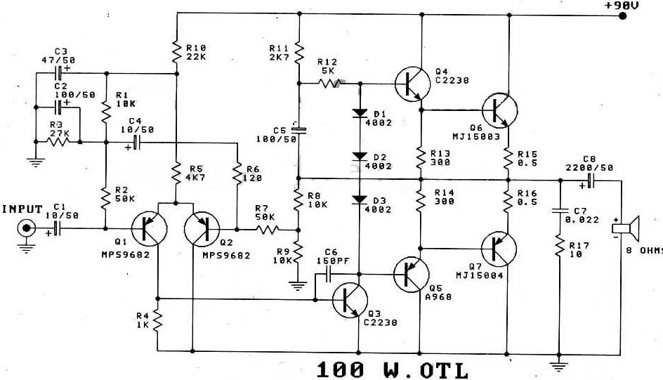 100w transistor power amplifier schematic under repository-circuits