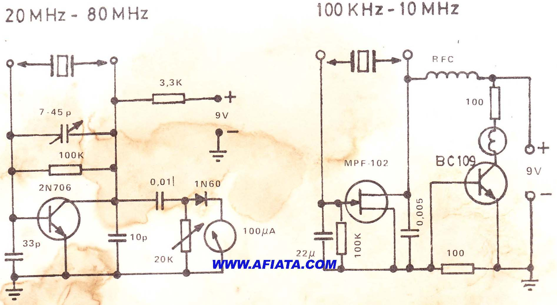 simple crystal tester circuit - schematic