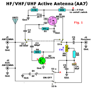 hf vhf uhf tv antenna boster active - schematic