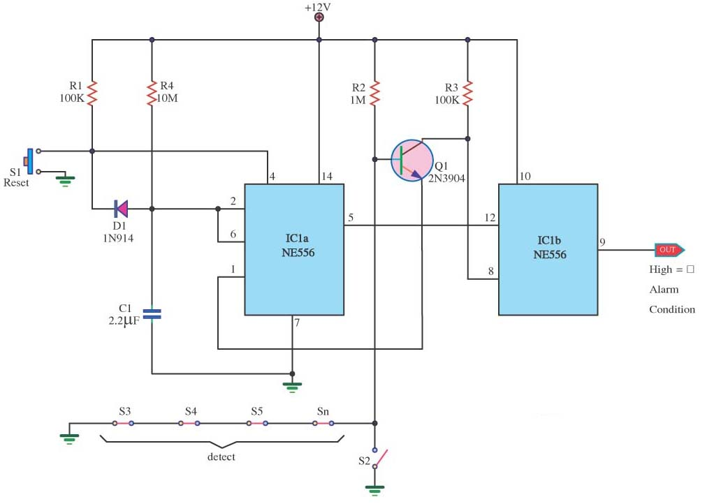burglar alarm circuits with timer delay - schematic