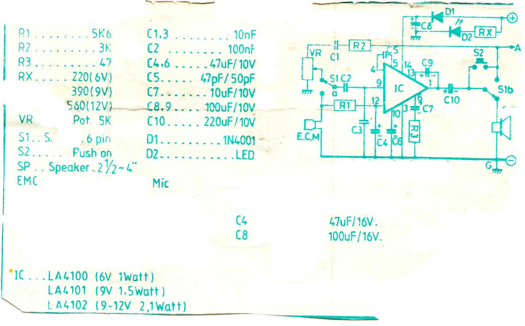 doorphone intercom circuits using la4100 la4101 la4102 - schematic