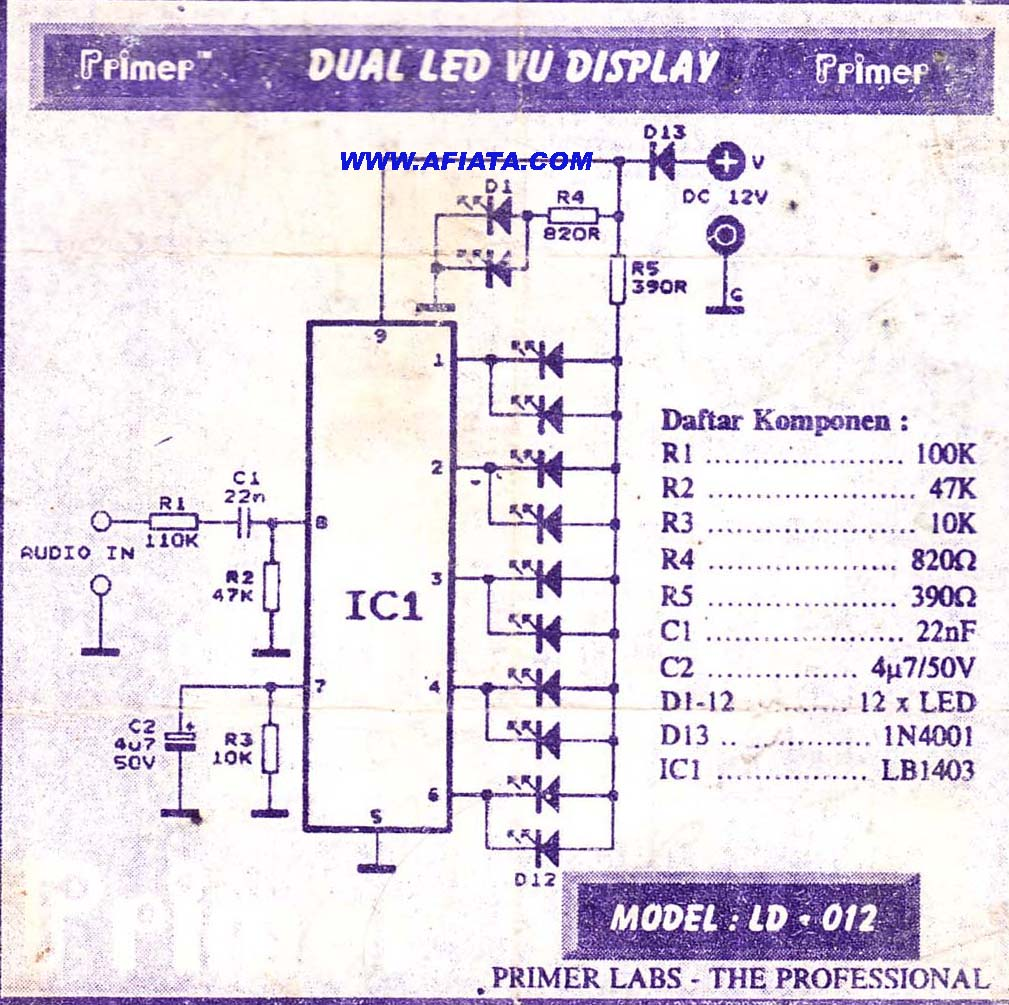 led vu display circuit - schematic