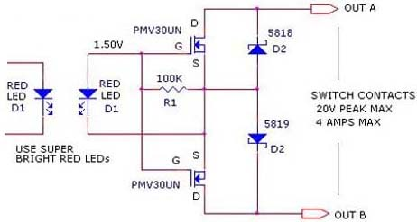 relay driver circuit with optical isolation - schematic