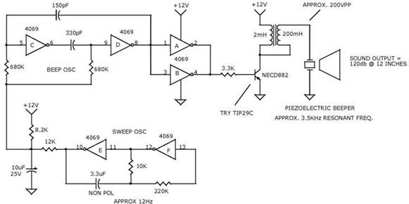 sweeping tone alarm beeper - schematic