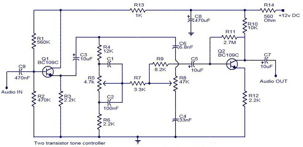 Transistor Wiring Diagram : Tone controller circuit diagram two transistor