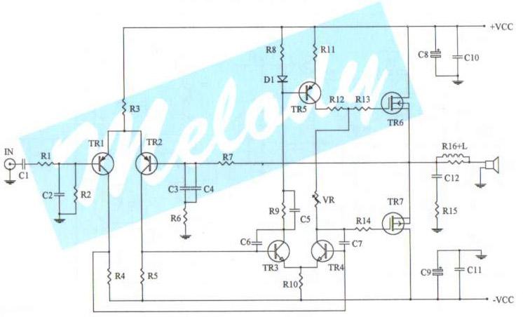 100 watt simple mosfet power amp - schematic