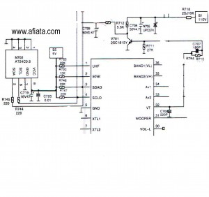 tv memory program using at24c0 24c02n - schematic