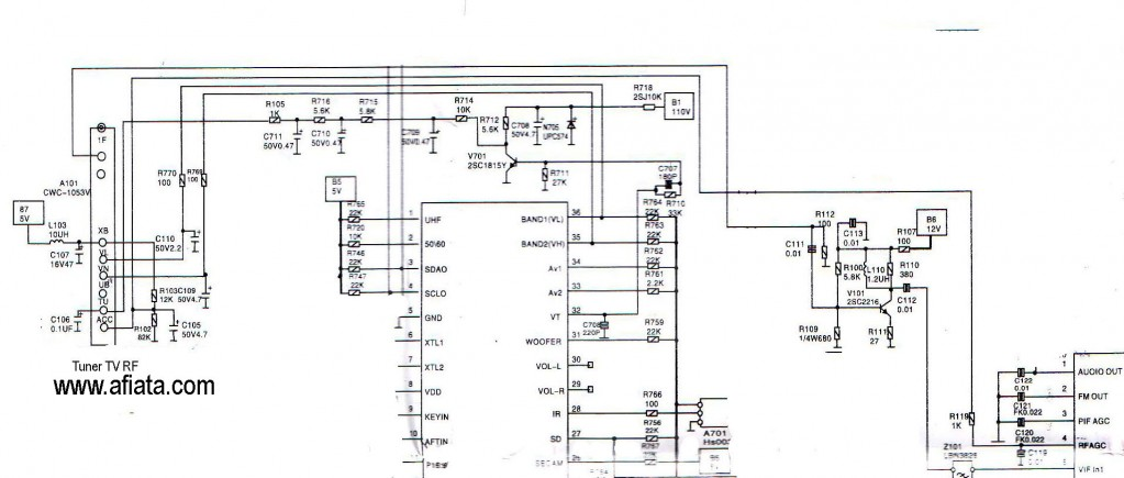 tv tuner reciver uhf vhf vl if out - schematic