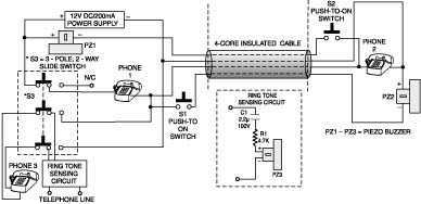 2-Line Intercom-Cum-Telephone Line Changeover Circuit - schematic