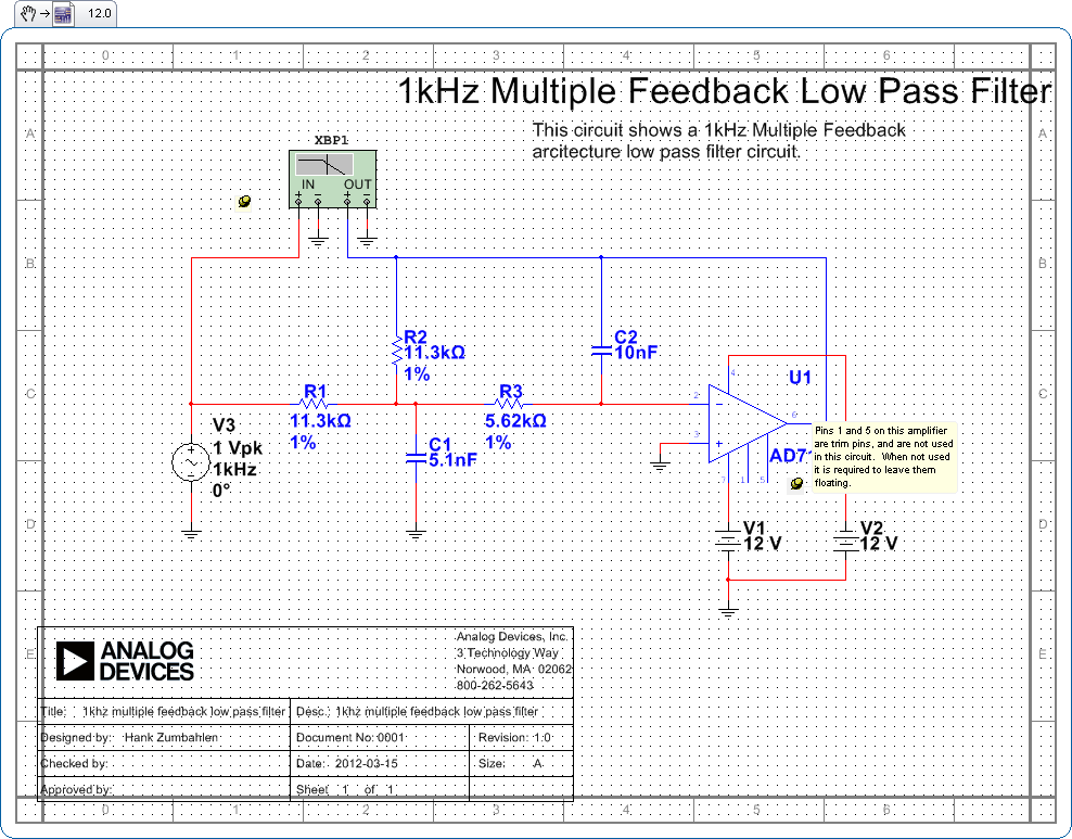 1khz multiple feedback low pass filter circuit - schematic