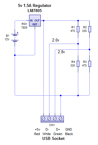 lm7805 5v regulator for usb phone charging - schematic