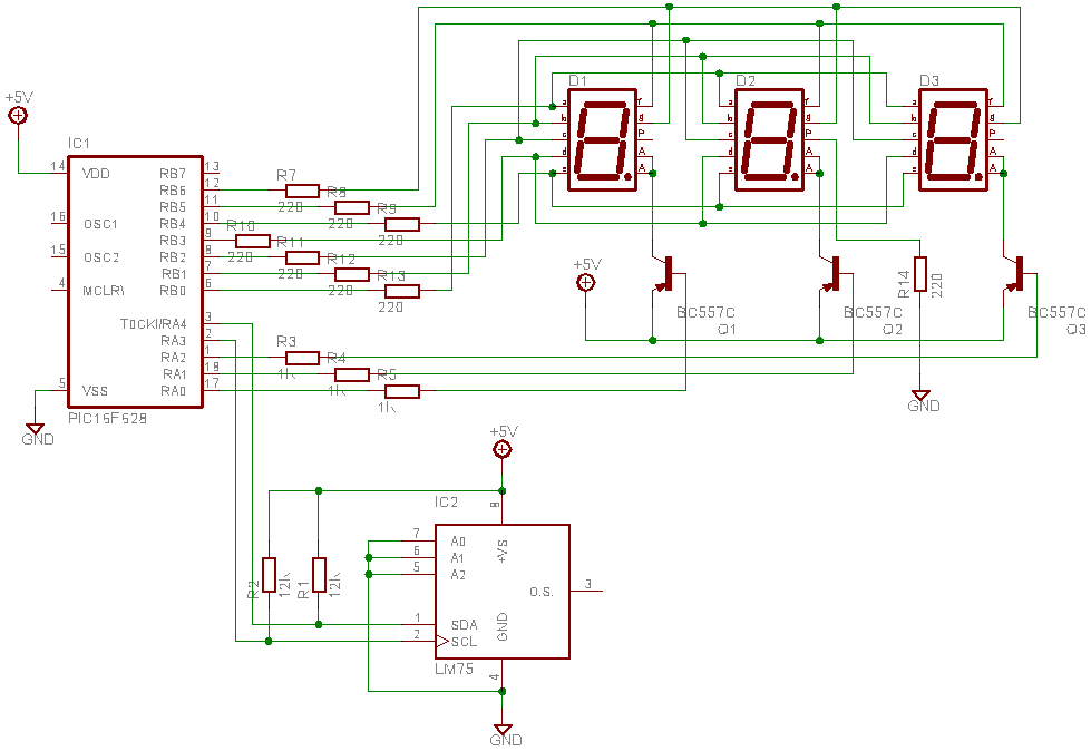 lm75 temperature sensor with 7 segment display output - schematic
