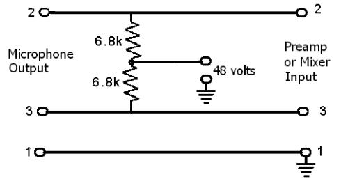 Phantom Powered Microphones - schematic