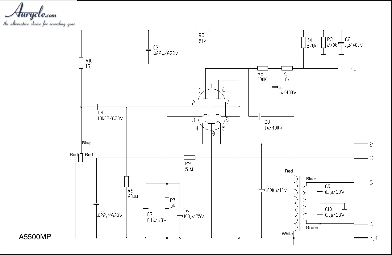 5500MP tube condenser diy microphone - schematic