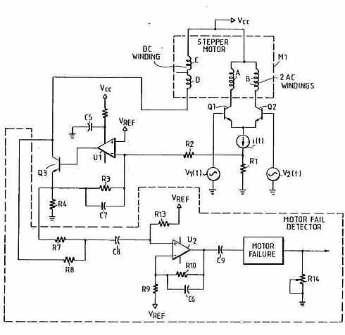 bar code reader stepper motor circuit - schematic