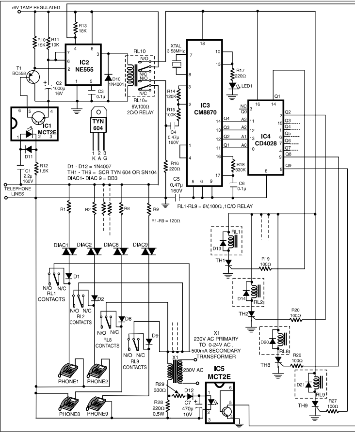 9-Line telephone sharer - schematic