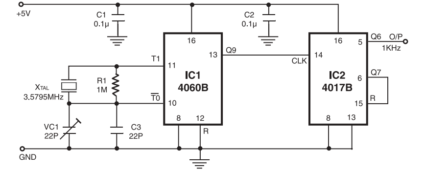 Crystal Controlled Time Base Oscillator - schematic
