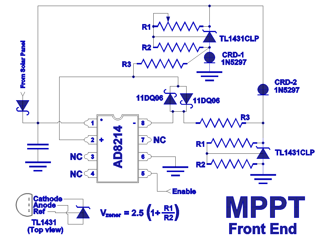 solar panel bypass diode diagram - schematic