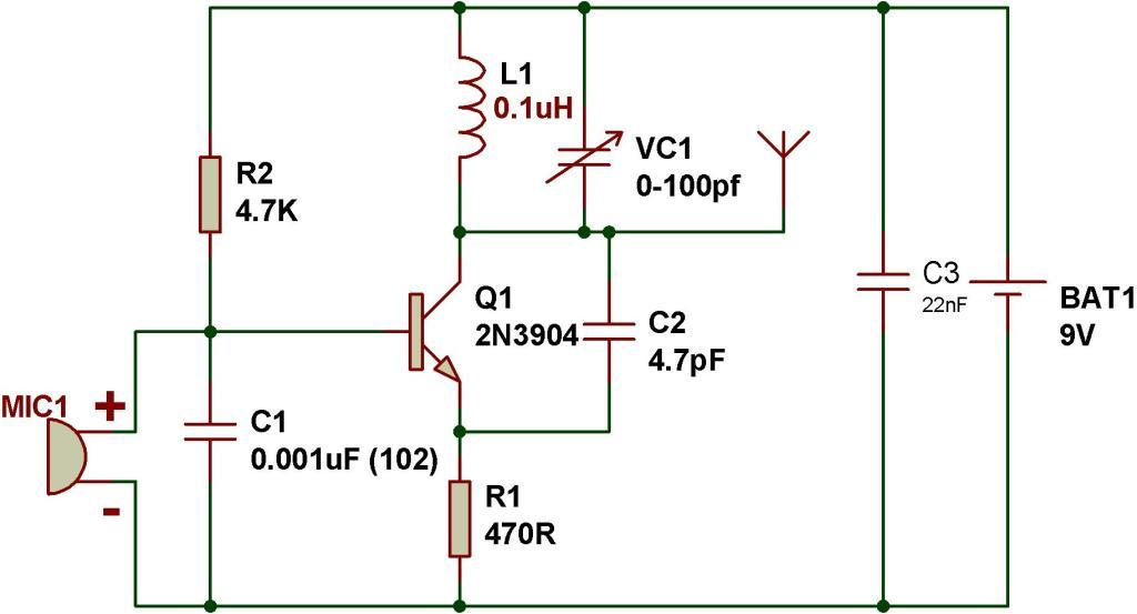 simple steps for making fm transmitter - schematic