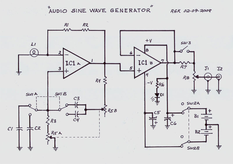 audio sine wave generator - schematic