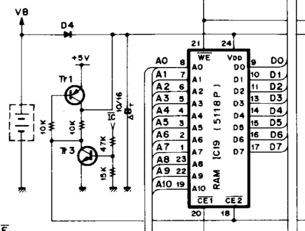 Yamaha DX7 memory backup circuit