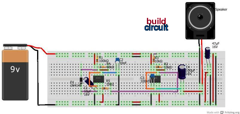 light activated police siren using 555 timer - schematic