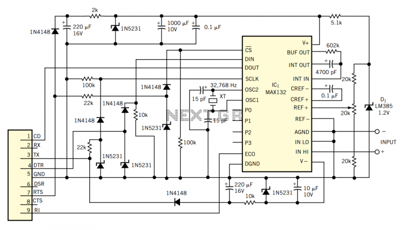 18-bit ADC uses PC`s serial port - schematic
