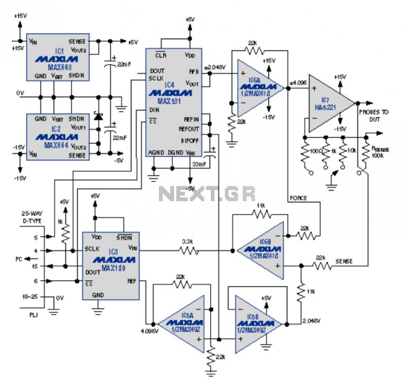 PC Printer Port Controls I-V Curve Tracer - schematic