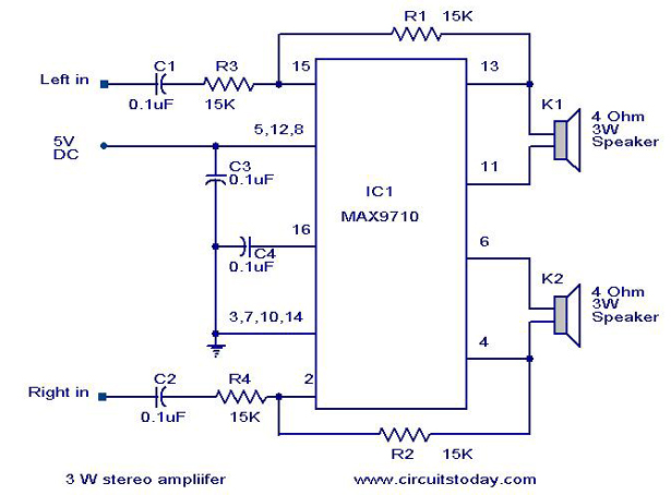 3 W Stereo amplifier using MAX 7910-Audio power amplifier circuit - schematic