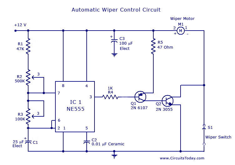 Gt Circuits Gt Automatic Wiper Control Circuit Using Ne 555
