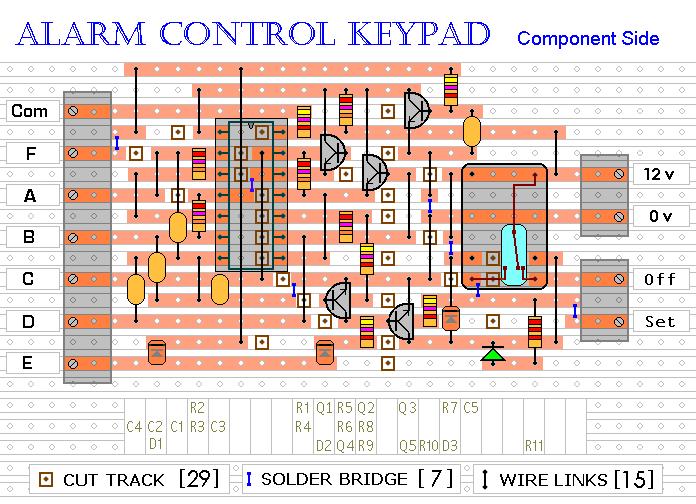 4 digit alarm control keypad - schematic