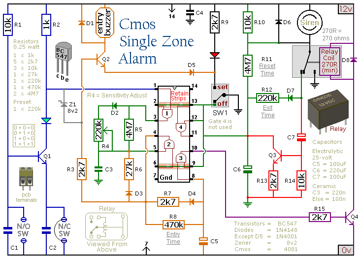 cmos based single zone alarm - schematic