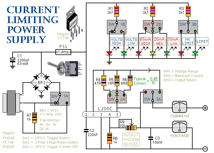 a current limiting bench power supply - schematic