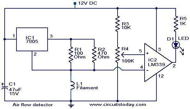 Air flow detector circuit - schematic