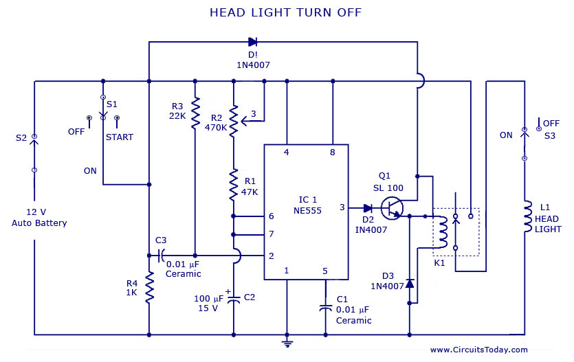 Automatic Car/Vehicle Head Lights Turn Off Circuit - schematic
