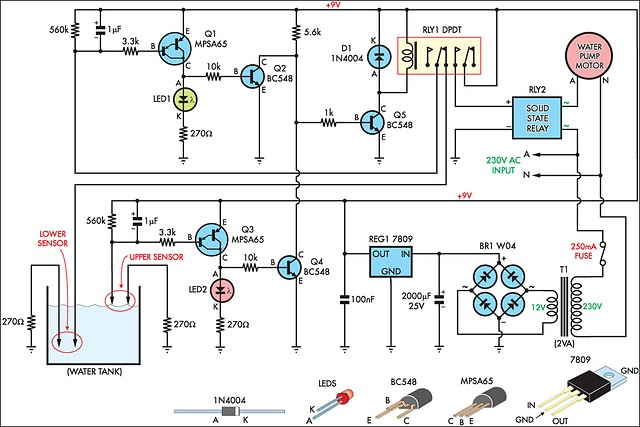 automatic water tank filler circuit diagram