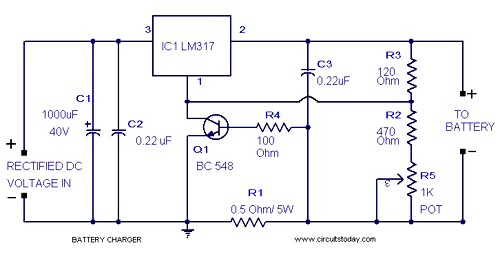 Solar Charger Circuits also Battery Charger Circuits as well Ups besides Battery desulfator plans in addition Nicad Battery Charger By Ic Lm317t. on lead acid battery charger circuit diagram 3