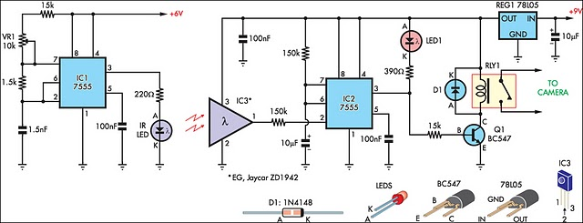 beam break detector for camera shutter or flash control - schematic