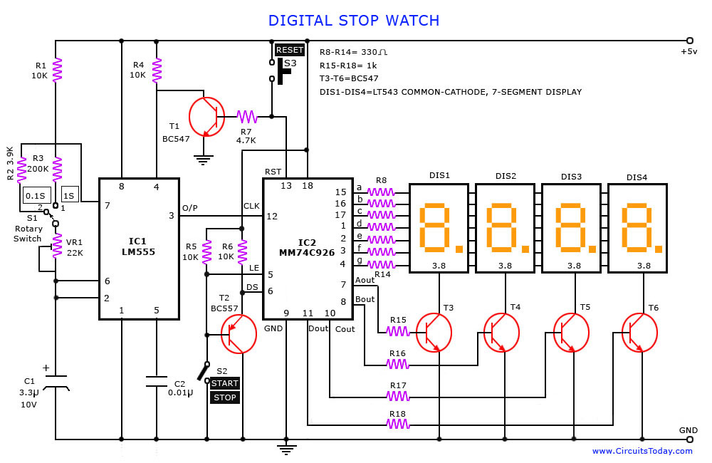 Digital Stop Watch and Digital Timer Circuit - schematic