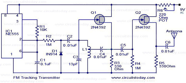 FM Tracking Transmitter Circuit or Remote Control Transmitter Circuit - schematic